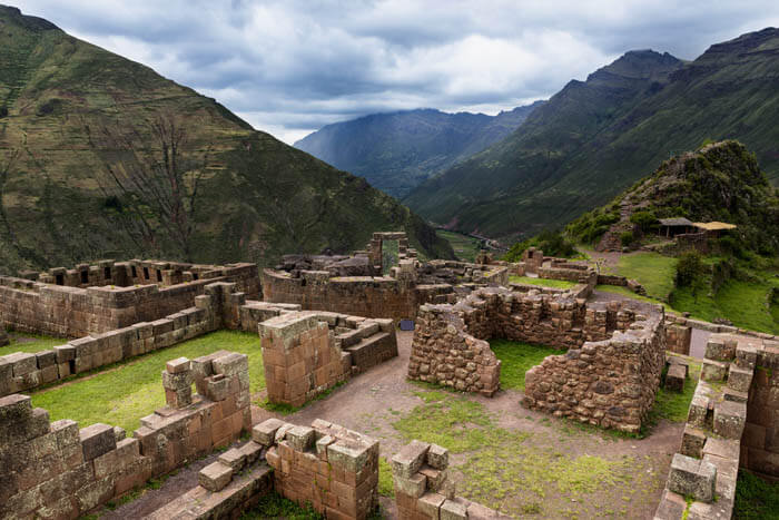 View of Inca Ruins near the town of Pisac in the Sacred Valley, Peru