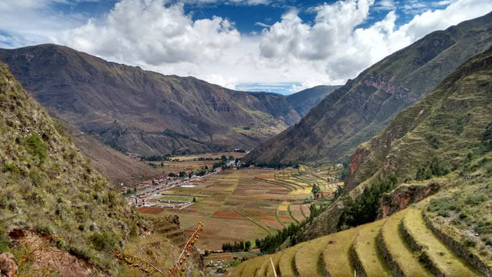View of the Sacred Valley near Pisac, Cusco, Peru