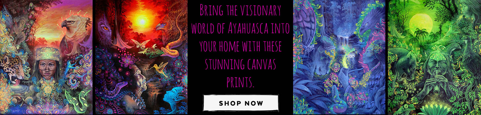 Gaia Tree Aya Art Banner - Ayahuasca Retreat Center - Authentic Ayahuasca Retreats near Iquitos, Peru